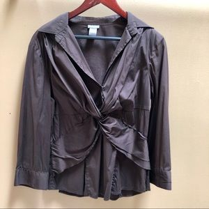 Ann Taylor Brown Twisted Career Top Sz 14